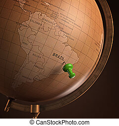 Brazil Marked - Antique globe with the Brazil marked by the...