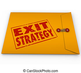 Exit Strategy Words Stamped Yellow Envelope Plan - Exit...