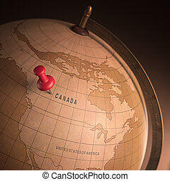 Canada Marked - Antique globe with the Canada marked by the...