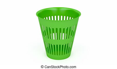 Green waste basket on white background