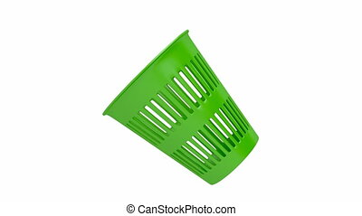 Green waste basket spin on white background
