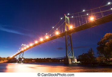 Thousand Islands Bridge at Night - The Thousand Islands...