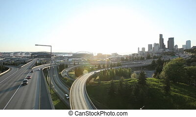 Seattle Sunset Interstate Traffic - Interstate Traffic...