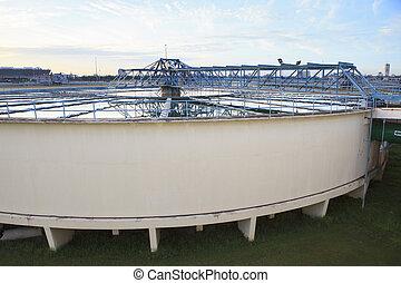 big tank of water supply in metropolitan water work industry...