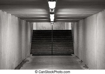 underground passage - Staircase in underground passage -...