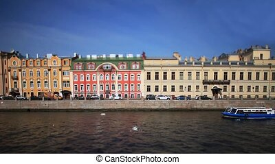 travel on Moika river of St. Peters