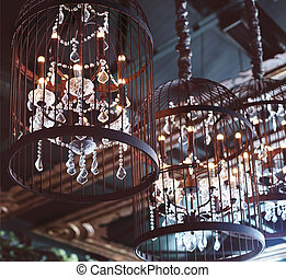 Chrystal chandeliers close-up. Glamour background with copy...