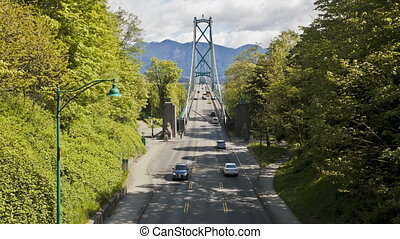 Lions Gate Bridge at Stanley Park in Vancouver, British...