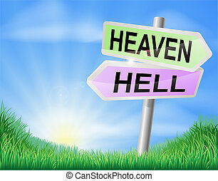Heaven or hell sign concept