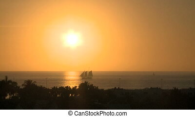 Sunset in Key West - Sunset on the ocean in Key West with...