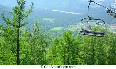 Cableway in Altay mountains. Manzherok mountain