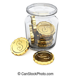 Jar with coins isolated on white background. 3d rendering...