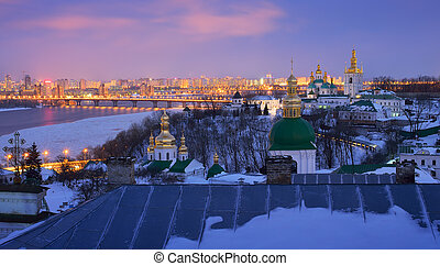 Kiev-Pechersk Lavra - Night cityscape. View of the...