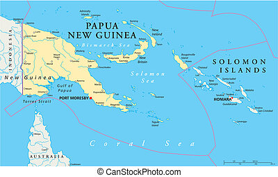 Papua New Guinea Political Map - Political map of Papua New...