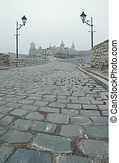 View of the old fortress - Road leading to the medieval...