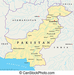 Pakistan Political Map - Political map of Pakistan with...