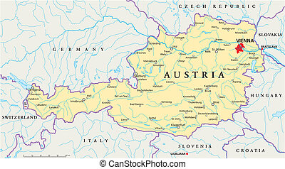 Austria Political Map - Political map of Austria with...