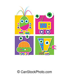 robots collection greeting card - illustration of four...