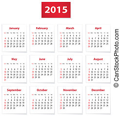 2015 English calendar - Calendar for 2015 year on white...