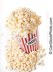 Popcorn isolated on white. Popcorn container was build and...