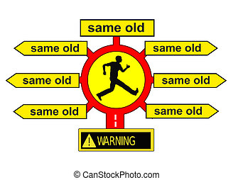 Same old Same old - Concept sign for settled habits and...