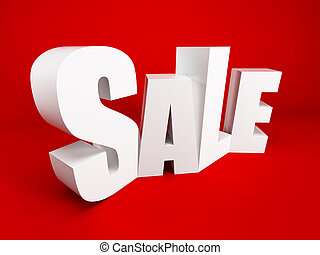 big sale - white symbol of sale, 3d rendering