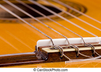 Guitar strings - Classical Guitar Bridge closeup, Show...