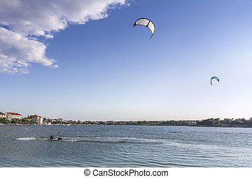 Kiteboarding, kitesurfing, many kites in the sky, Nin,...