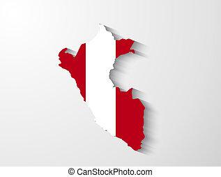 Peru map with shadow effect presentation