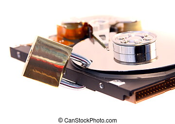 Data protect - Locked hard disk isolated on a white...