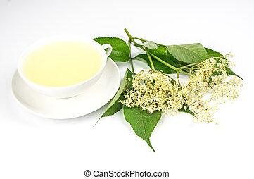 Tea cup with elder tea