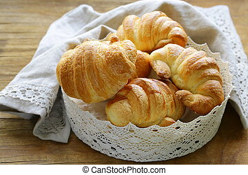 puff pastry croissants - traditional French baking puff...