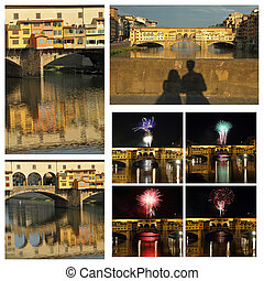 collage with images of Ponte Vecchio in Florence, Italy