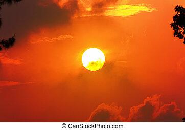 Sun at sunset