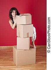 mulher, segurando, papelão, caixas