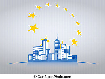 city star - illustration of modern city with europe stars