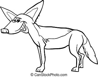 jackal animal cartoon coloring page - Black and White...