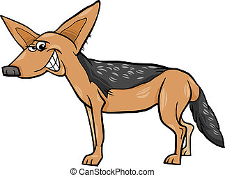 jackal animal cartoon illustration - Cartoon Illustration of...