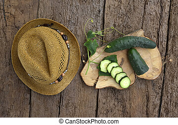 Cucumber organic garden on a old wooden table