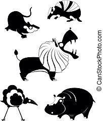 Original art animal silhouetts - Vector original art animal...