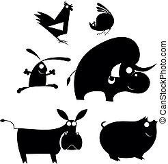 農場, 漫画, シルエット, 動物