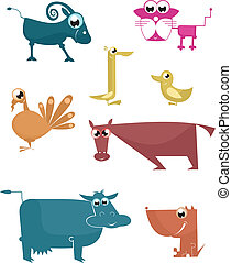 Vector comic farm animal collection