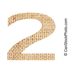 Number 2 made from sackcloth brown isolated on white background
