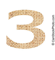 Number 3 made from sackcloth brown isolated on white...