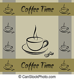 Coffe cup walpaper pattern - Coffee cup time seamless vector...