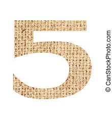 Number 5 made from sackcloth brown isolated on white...