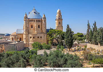 Dormition Abbey in Jerusalem, Israel. - Abbey of the...