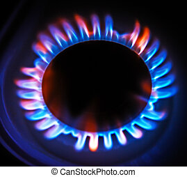 flame gas stove in the dark. - flame gas stove in the dark...
