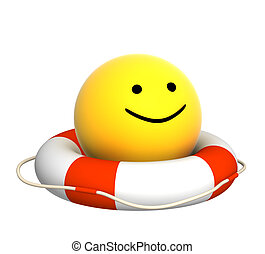 Smile - Yellow smile on lifebuoy - over white
