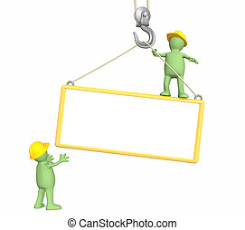 3d builders, lowering a frame on a hook